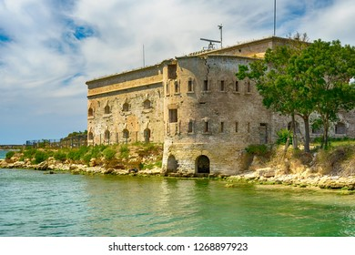 Old damaged by war fort in the Black Sea coast. Coastal Michael's fortress in Sevastopol, Crimea