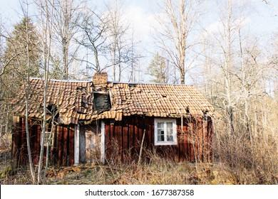 Old damaged house in nature   Småland