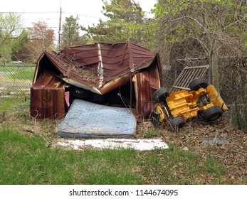 Old damaged storage shed.