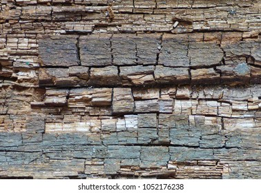 Old damaged wood texture with geometric pattern. Natural retro background. Wooden surface with horizontal structure.