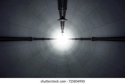 Old dark abandoned concrete tunnel with light at the end. 3d rendering