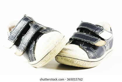old dark blue infants sneakers with Velcro