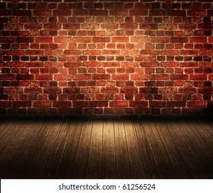 Old dark brick room