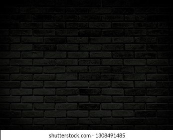 The old dark brick wall background with gradient light in vintage style for background design concept