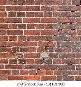 Old Dark, Brown Tone Brick Wall Texture. Strong Brickwork Seamless. Shabby Building Façade. Perfect Stonework Backdrop.