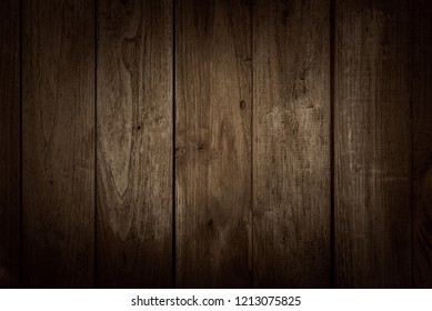 Old dark brown wooden wall, detailed background photo texture. Wood plank fence close up.