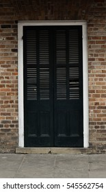 Old dark door - French Quarter, New Orleans, LA, USA