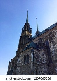 Old Dark Gothic Church Religious Architecture in Brno, Czech Republic on the Sunny Day Perfect for Sighseeing, City Trip Tour, Historical Building Heritage, Catholic Religious Cathedral, Christianity