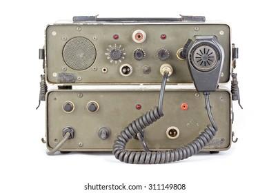 old dark green amateur ham radio on white background
