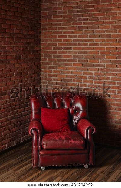 Remarkable Old Dark Red Leather Armchair Corner Stock Photo Edit Now Creativecarmelina Interior Chair Design Creativecarmelinacom