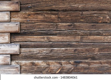 Old dark wood texture background. Tinted Wooden surface with natural pattern with vignette