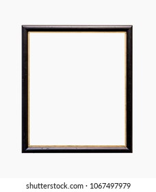 Old dark wooden picture frame isolated on white background