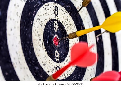 old dart target with arrows ,Image for target marketing solution concept.