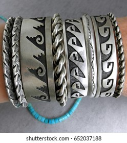 Old Dead Pawn Native American Sterling Hopi and Navajo Cuff bracelets jewelry display