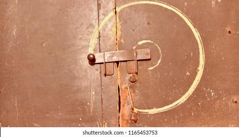 Old deadbolt on the door