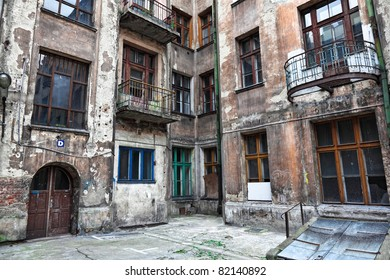 old decadent houses in lodz town poland
