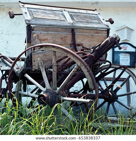 Old and decaying wooden horse wagon