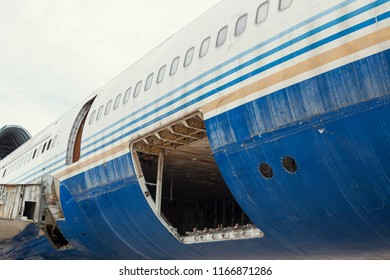 Old decommissioned airplanes and airplane details in a scrap metal yard,the structure of the old aircraft.