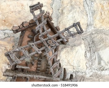 Old decorative ancient windmill wood layout