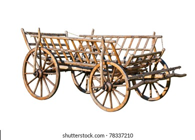 Old decorative cart, isolated on white