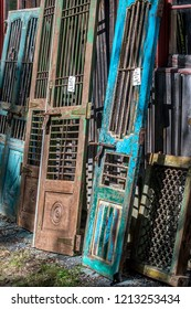 old decorative doors and architectural finds in a salvage yard
