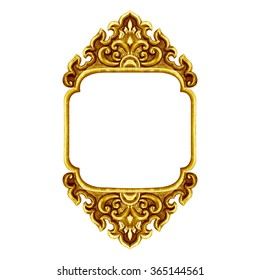 old decorative frame antique engraved gold background isolated on white background