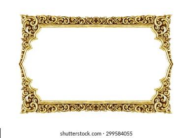 old decorative frame - handmade, engraved - isolated on white background