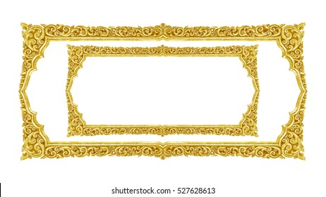 old decorative gold frame - handmade, engraved - isolated on white background