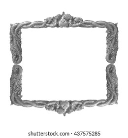 old decorative gray frame - handmade, engraved - isolated on white background