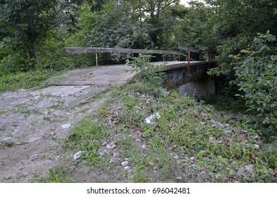 An old decrepit rural wood platform bridge overgrown with vegetation.
