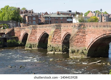 The Old Dee Bridge over the River Dee at Chester, United Kingdom