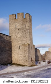 Old defens tower in the medevial Visby city wall located in the Swedish province of Gotland.