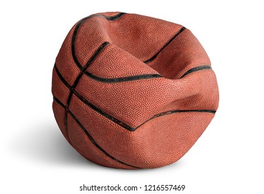 Old deflated basketball isolated on white background