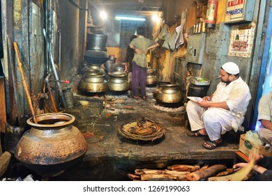 Old Delhi, Delhi - April 8 2013 : The kitchen of a local eatery in the streets of Old Delhi near Jama Masjid
