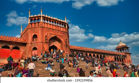 Old Delhi, India - 17 Nov 2018: Main Entrance of Jama Masjid of Delhi - The largest mosque of India