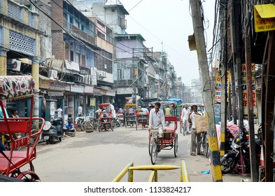 Old Delhi, India - August 9, 2012. A street in the city of Old Delhi.