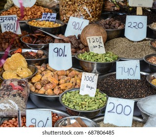 Old Delhi, India - Jul 4, 2015. Selling nuts and dried fruits at a spice market in Old Delhi, India.