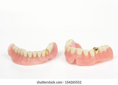 old dentures with gold tooth