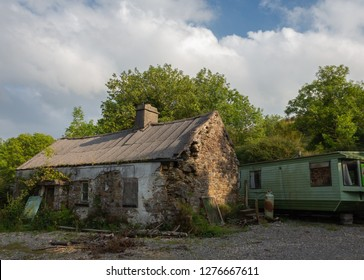 An old derelict abandoned house, in rural Ireland.