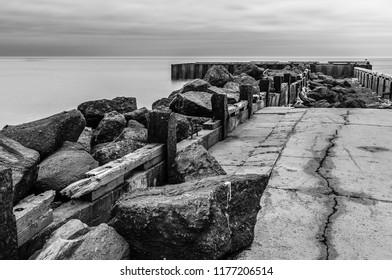 Old derelict breakwater pier in Prince Edward Island, Canda