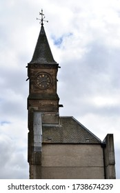 Old Derelict Stone Factory Building with Tower &  Clock