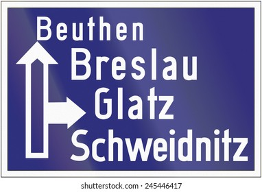 Old design (1939) of a highway direction sign in Germany.