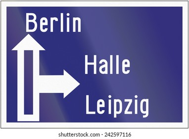 Old design (1945) of a highway direction sign in Germany.
