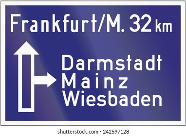 Old design (1953) of a highway direction sign in Germany.