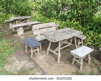 old desks and chairs in  garden