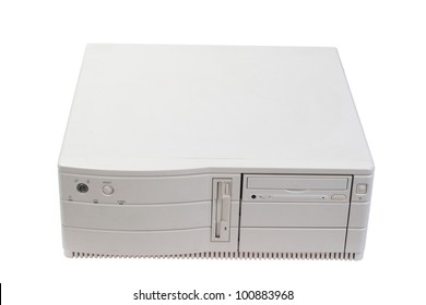 old desktop case on white background