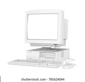 Old Desktop Computer with a Blank White Screen Monitor, Keyboard and Mouse Isolated. 3D rendering