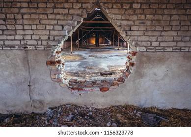 Old desolate PGR - form of polish collective farm in Gora, small village in Mazovia Province near Legionowo town, Poland
