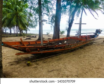 Old destroyed boat at the beach