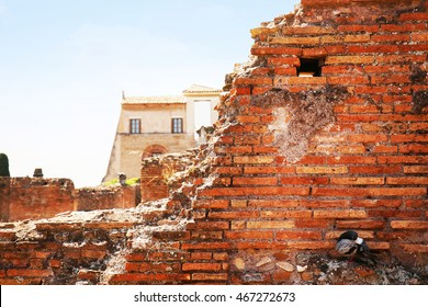 Old destroyed brick wall